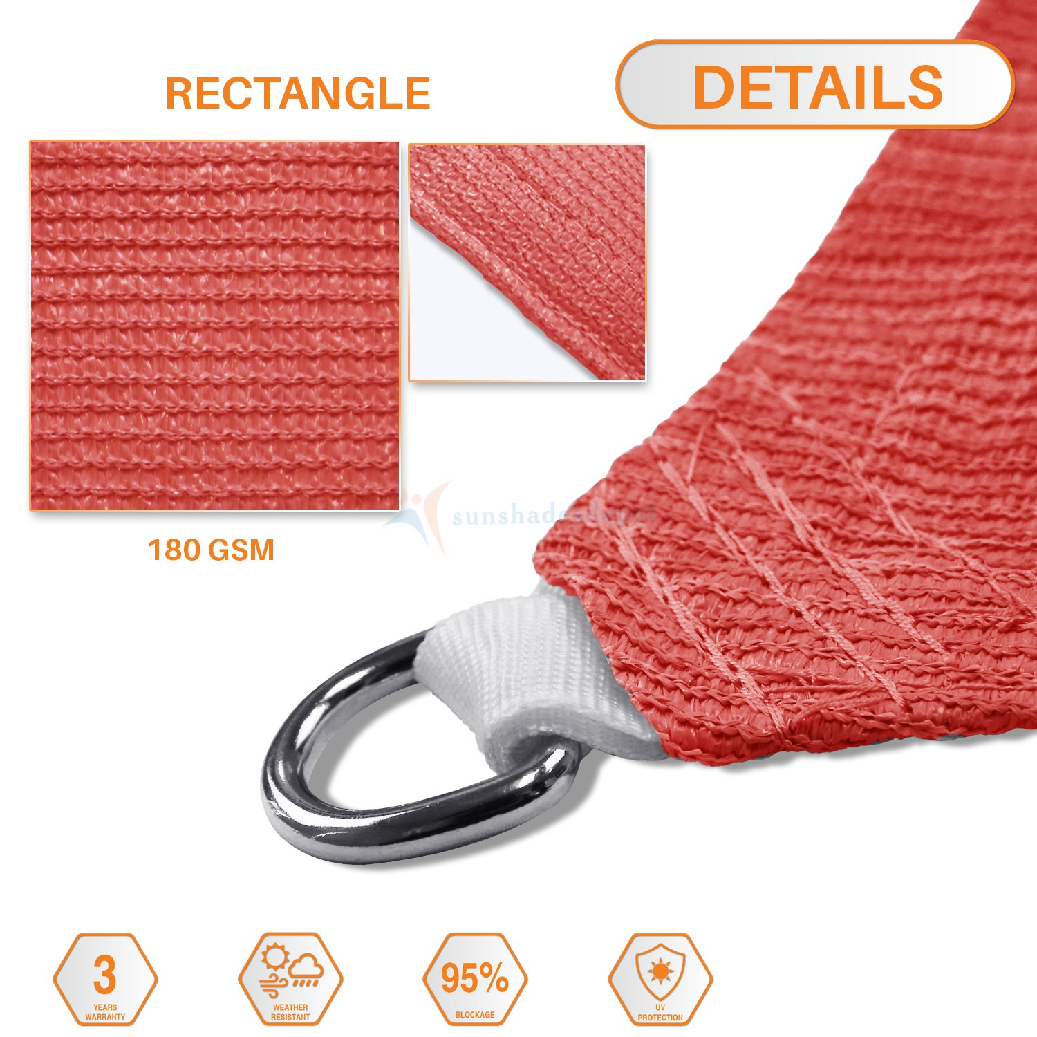 TANG Sunshades Depot 12 x 12 Sun Shade Sail Square 180 GSM HDPE Permeable Curved Edge Canopy Red Custom Commercial Grade Standard