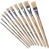LUKAS Flach-Pinsel / Borstenpinsel 10er Set - Acryl, Öl, Gouache etc. Größe: 2, 4, 6, 8, 10, 12, 14, 16, 18, 20 Echthaar