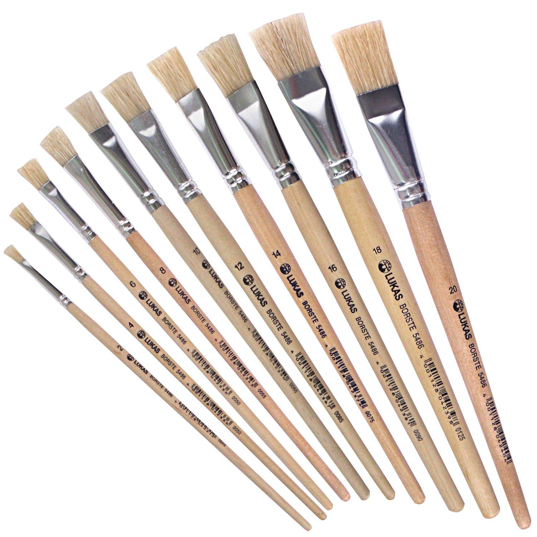 Lukas piatto di pennello/Set di pennelli con setole 10er–acrilico, Olio, gouache etc. Dimensione: 2, 4, 6, 8, 10, 12, 14, 16, 18, 20vera capelli + Matita