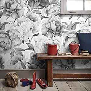 Msrahves Door Mural Black White Peony Flower Photo Wallpaper Wall Mural Poster Mural Children Room Poster Art Colourful Kids Decor for Living Room,Decal Home Party Decoration