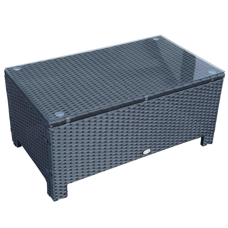 Outsunny Rattan Garden Furniture Coffee Table Patio Iron Frame Tempered  Glass (Black): Amazon.co.uk: Garden U0026 Outdoors