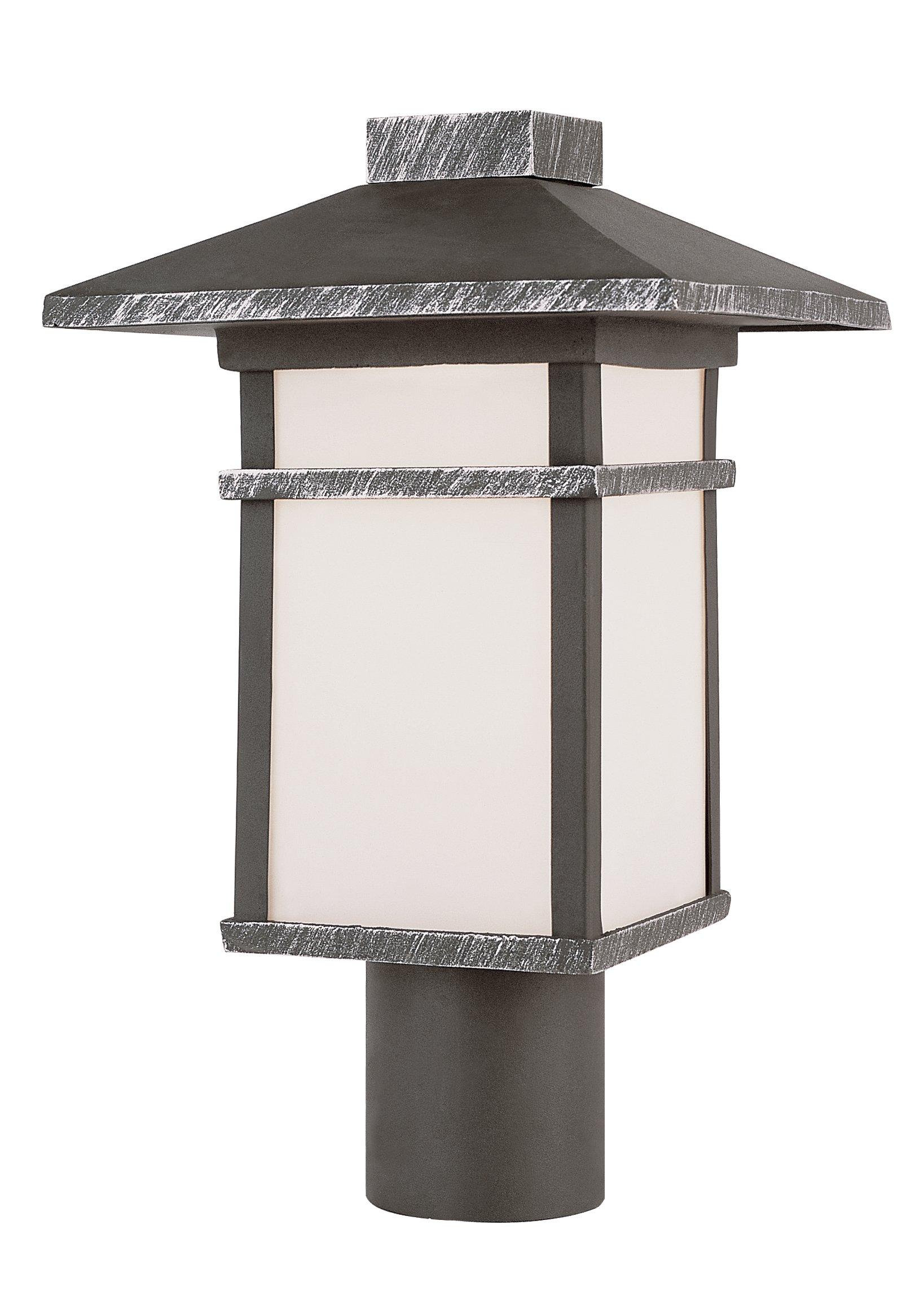 Trans Globe Lighting 40025 BK 17-Inch Mission Post Mount Lantern, Black