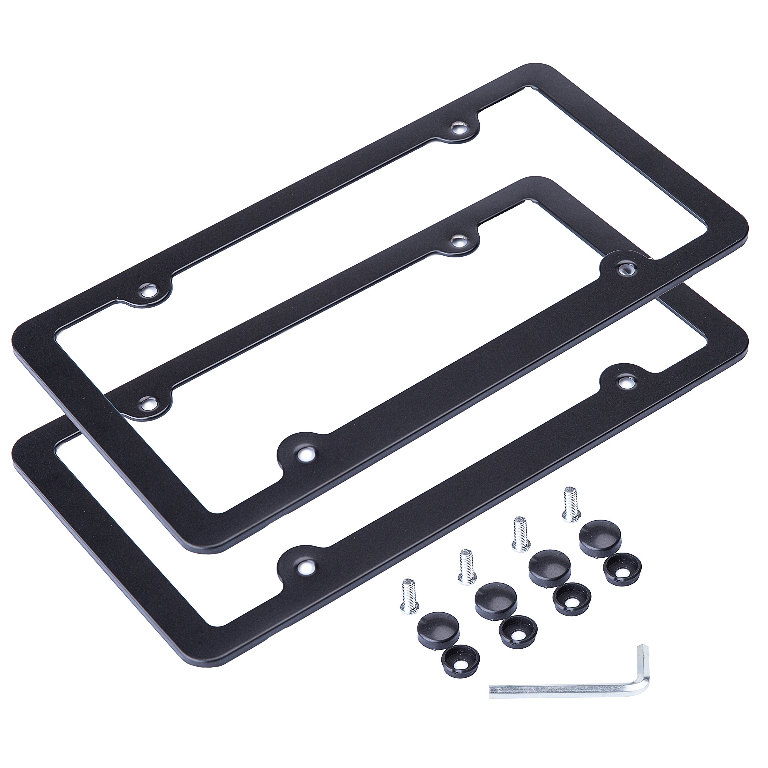 L-Fine License Plate Frame Aluminum Alloy With Stainless Steel Screw Caps (Bl.. 4