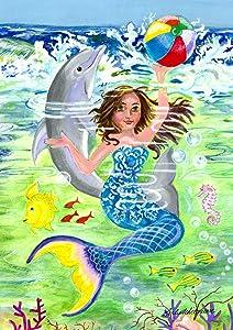 "Toland Home Garden 1012104 Mermaid Coast (28 x 40-Inch), House Flag (28"" x 40"")"