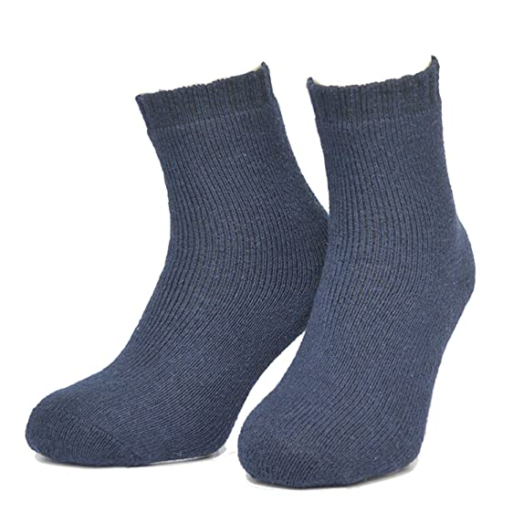 Wool Socks Men Full Terry Winter Warm Calcetines Deporte Colorful Thick Mens Socks 552w (Navy