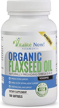 Best Organic Flaxseed Oil Softgels - 1000mg Premium, Virgin Cold Pressed from Flax Seeds - Hair Skin & Nails Support - Omega 3-6-9 Supplement - 100 Count - More Than 3 Month Supply!