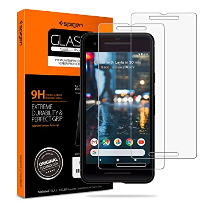the latest 794bc e0a09 Amazon.com: Spigen Tempered Glass Pixel 2 Screen Protector [ Case ...