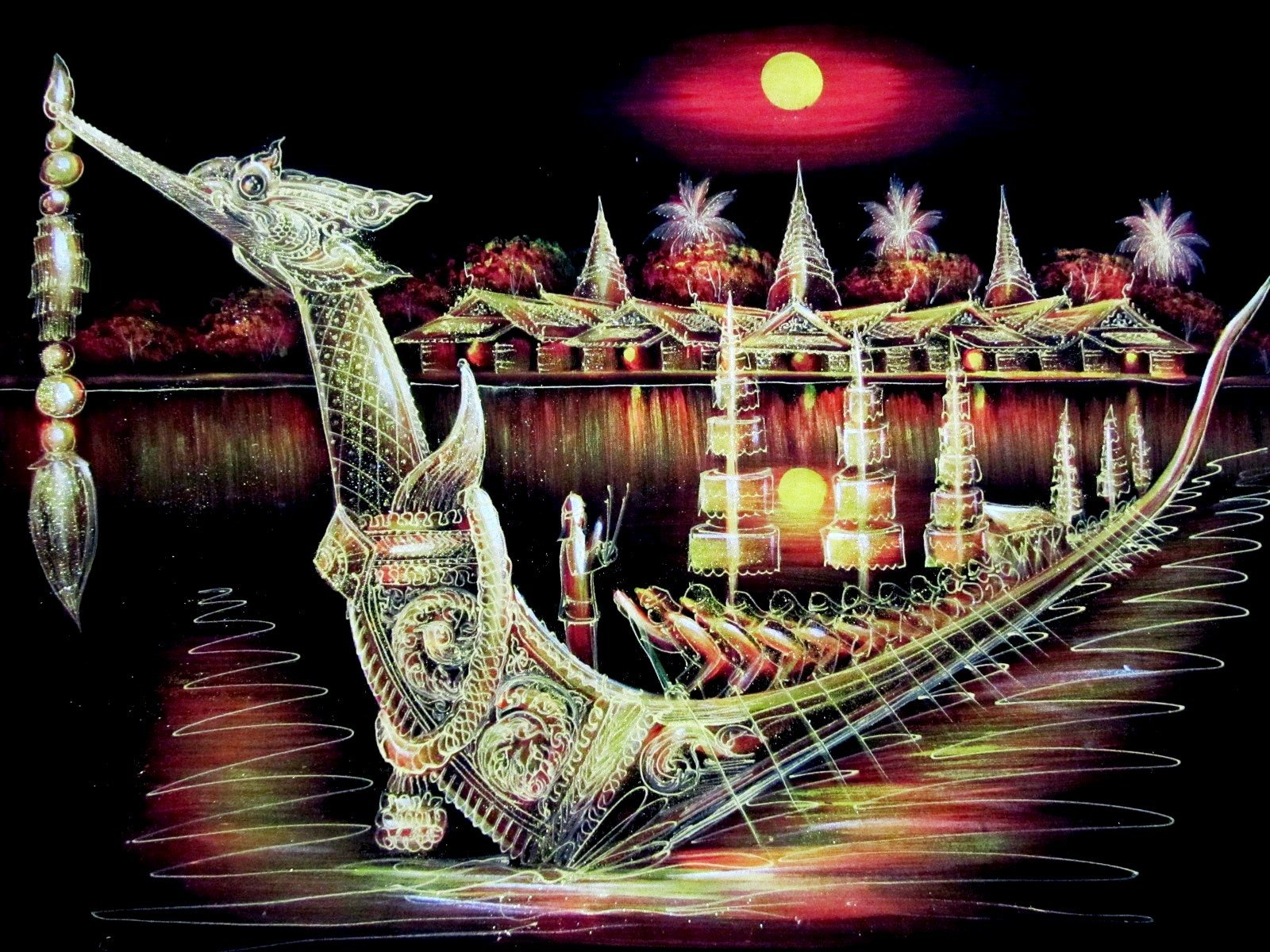 Blue Orchid Hand Painted Royal Thai Barge Scene Wall Art Blacklight Painting on Black Velvet Canvas Unframed 39'' x 27'' by Blue Orchid