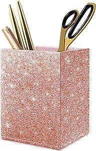 WAVEYU Glitter Bling Desk Pen Pencil Holder Stand for Desk Multi Purpose Use Pencil Cup Pot Desk Organizer, Pen Holder for Women Girls (Square Rose Gold)