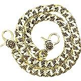 ジナブリング (JINA BRING) ウォレットチェーン 金の輝き リリークロス・ダブルフック 喜平チェーン 財布チェーン メンズ 真鍮 ブラス 財布 長財布 に