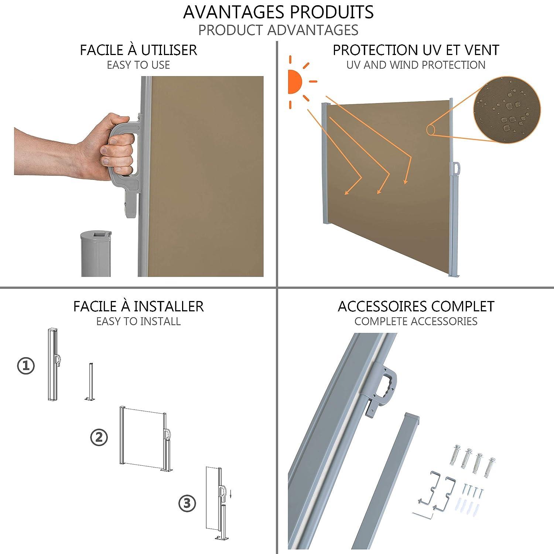 Antivento Grigio Esterno e Terrazzo 140 x 300 cm Protezione Privacy NOUVOT Tenda da Sole Laterale Avvolgibile Retrattile per Balcone Protezione Solare