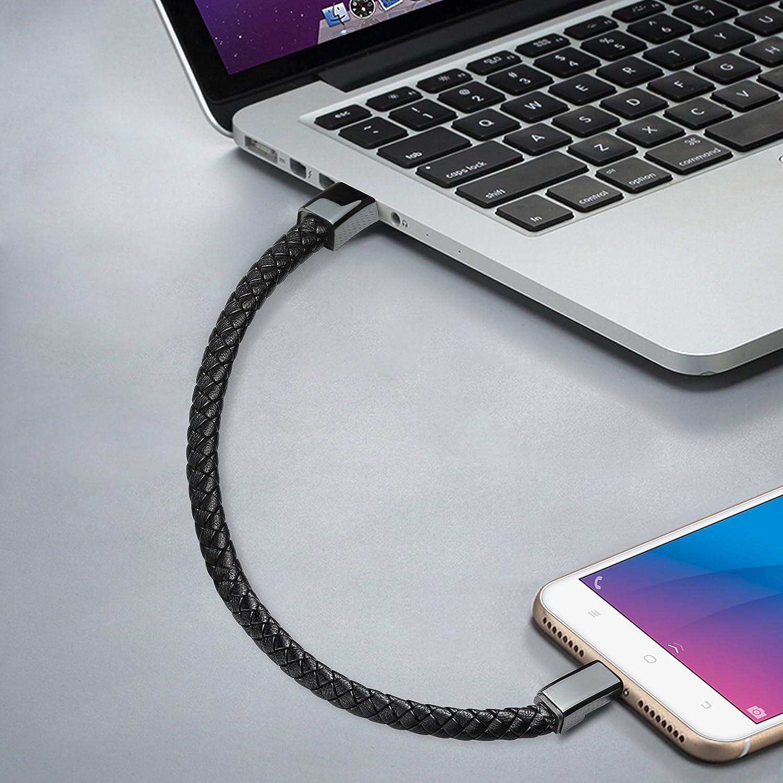 HTC Nexus Sony Bsolli Pulsera Cable de carga Pulsera trenzada de cuero port/átil Pulsera Micro USB 2.0 Cable de datos para Samsung 9.1 pulgadas,negro Motorola HAIWEI y m/ás LG