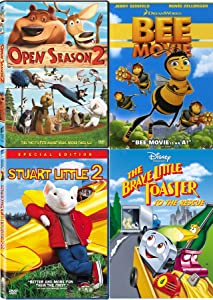 Little Bee Toaster Mouse Fun Cartoon Tales Disney Brave Little Toaster to The Rescue & Bee Movie Dreamworks + Open Season & Stuart Little DVD Animated kids fun 4 pack
