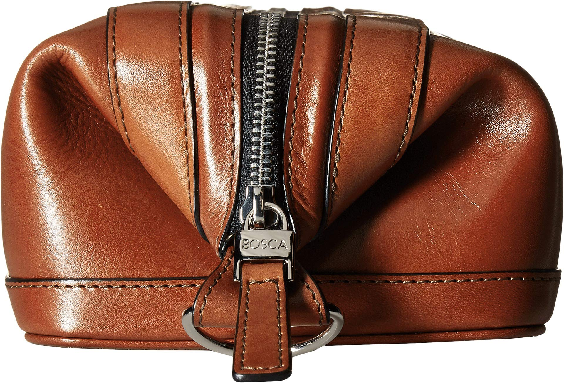 Bosca Men's 10'' Zipper Utilikit, Cognac by Bosca