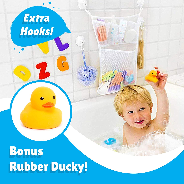 Duck Bath Water Thermometer Baby Bath Toy Storage Organiser Mesh Net