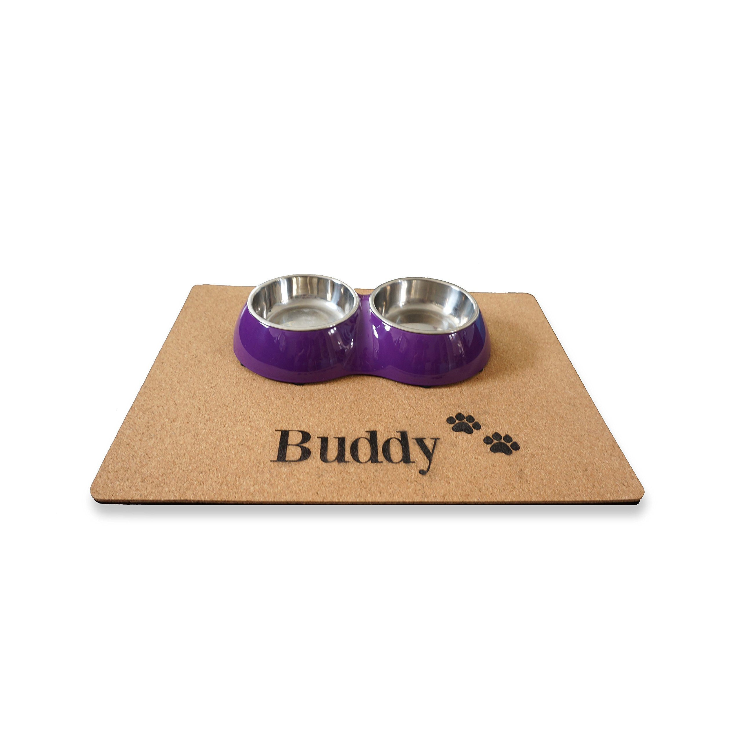 Custom Personalized Dog Place mat Pet Food Mat Feeding Mat Cork Unique Pet Dog Gift Placemat