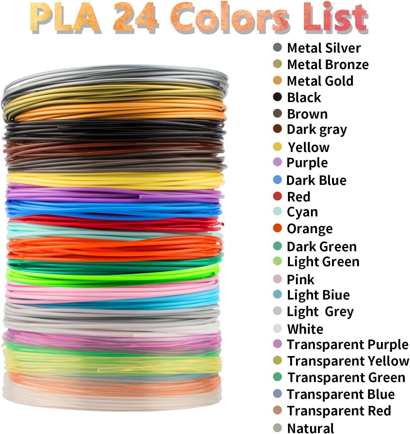 Filamento de 3D Pluma PLA 1,75 mm 15 colores 10m Material Ecol/ógico 3D Filamento para Pluma de Impresi/ón 3D Regalos para Ni/ños