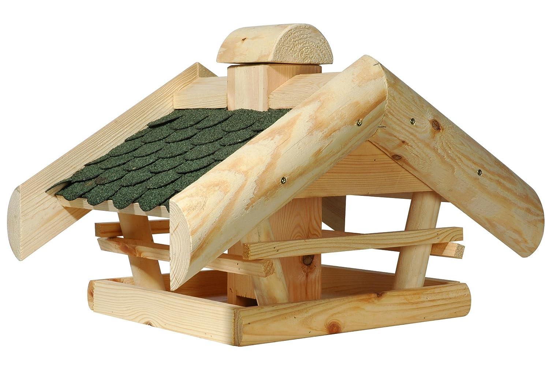 dobar Vogelhaus aus Holz (Kiefer) mit grünen Bitumen-Dachschindeln zum Aufstellen oder Aufhängen, viereckig/sechseckig 60 x 60 x 90 cm 33310FSC