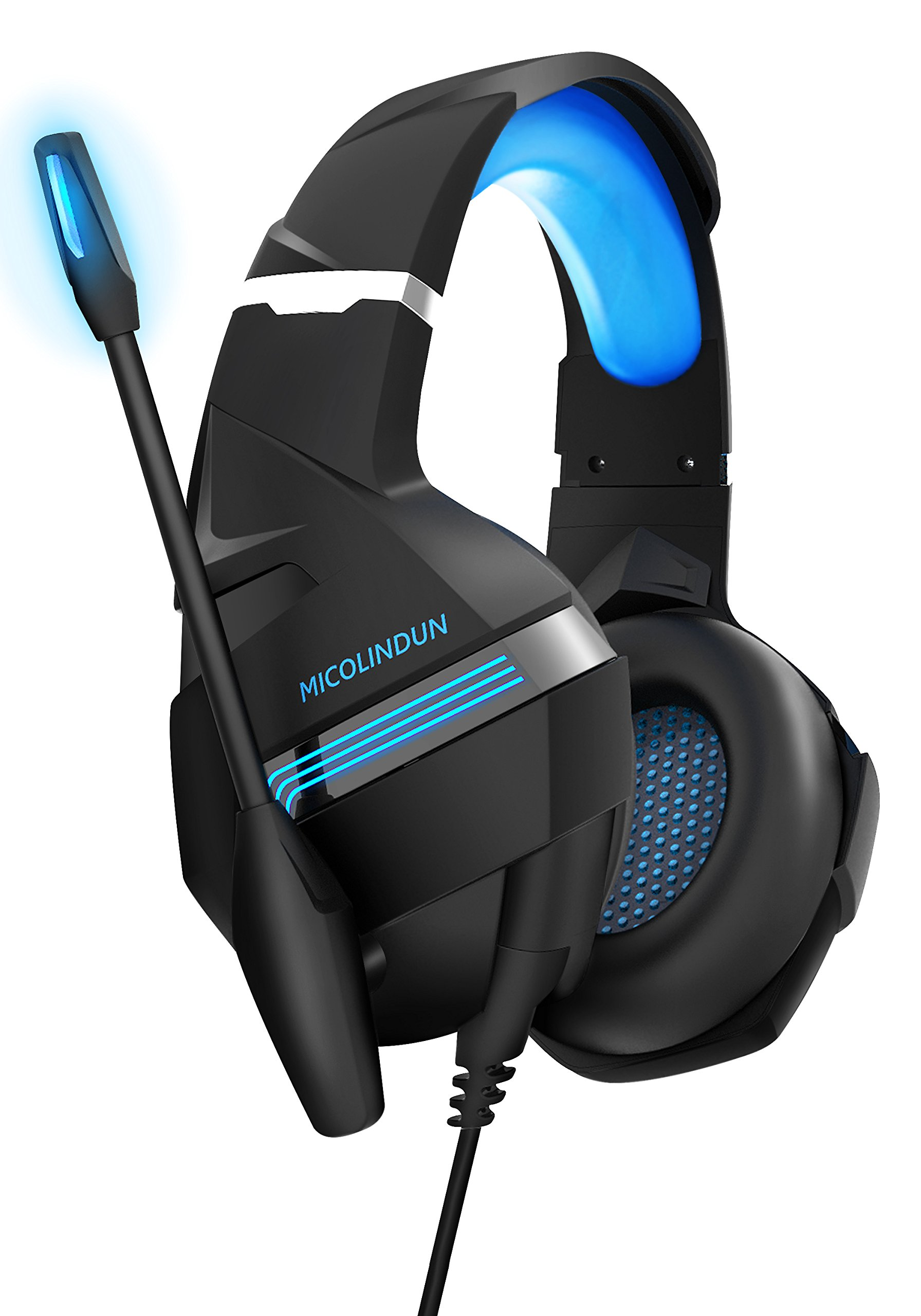 Micolindun MG9 Gaming Headset for Xbox ONE PS4 Headphones with Mic Stereo Sound Noise Cancelling Microphone LED Light Soft Over Ear Earmuffs for PS4, Xbox One, PC, Nintendo Switch, Smart Phone,Laptop