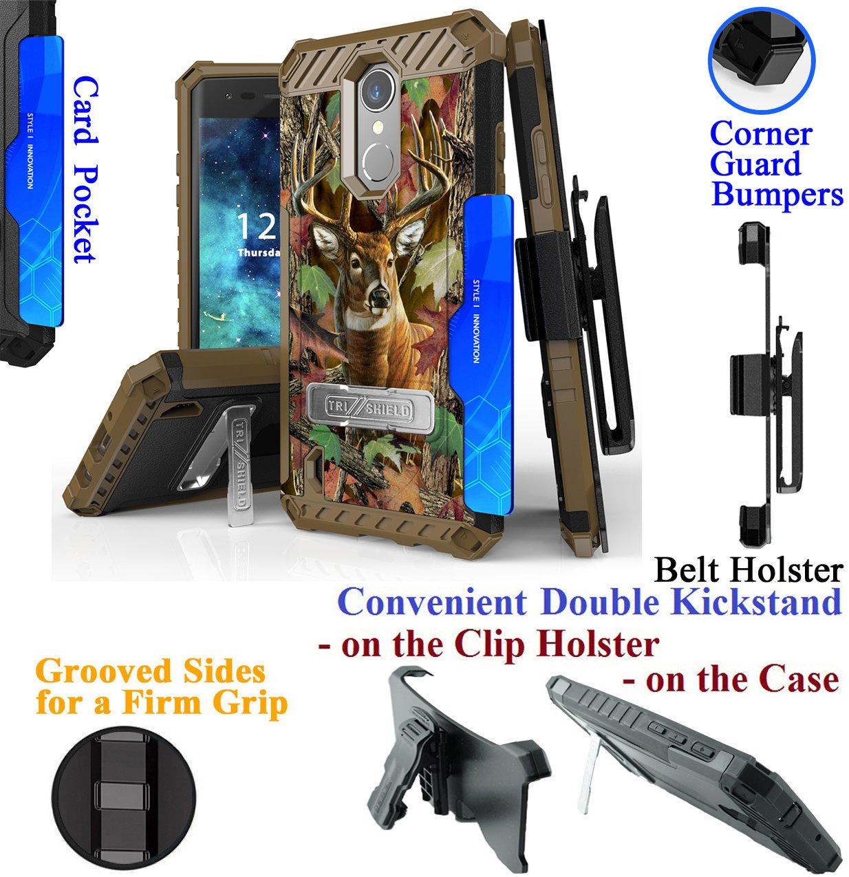for 2018 5'' LG Aristo 2 Tribute Dynasty Case Belt Holster Phone Case 2 Kick stand Card Slot Corner Guard Bumper Firm Grip Hybrid Armor Cover (Camo Deer)