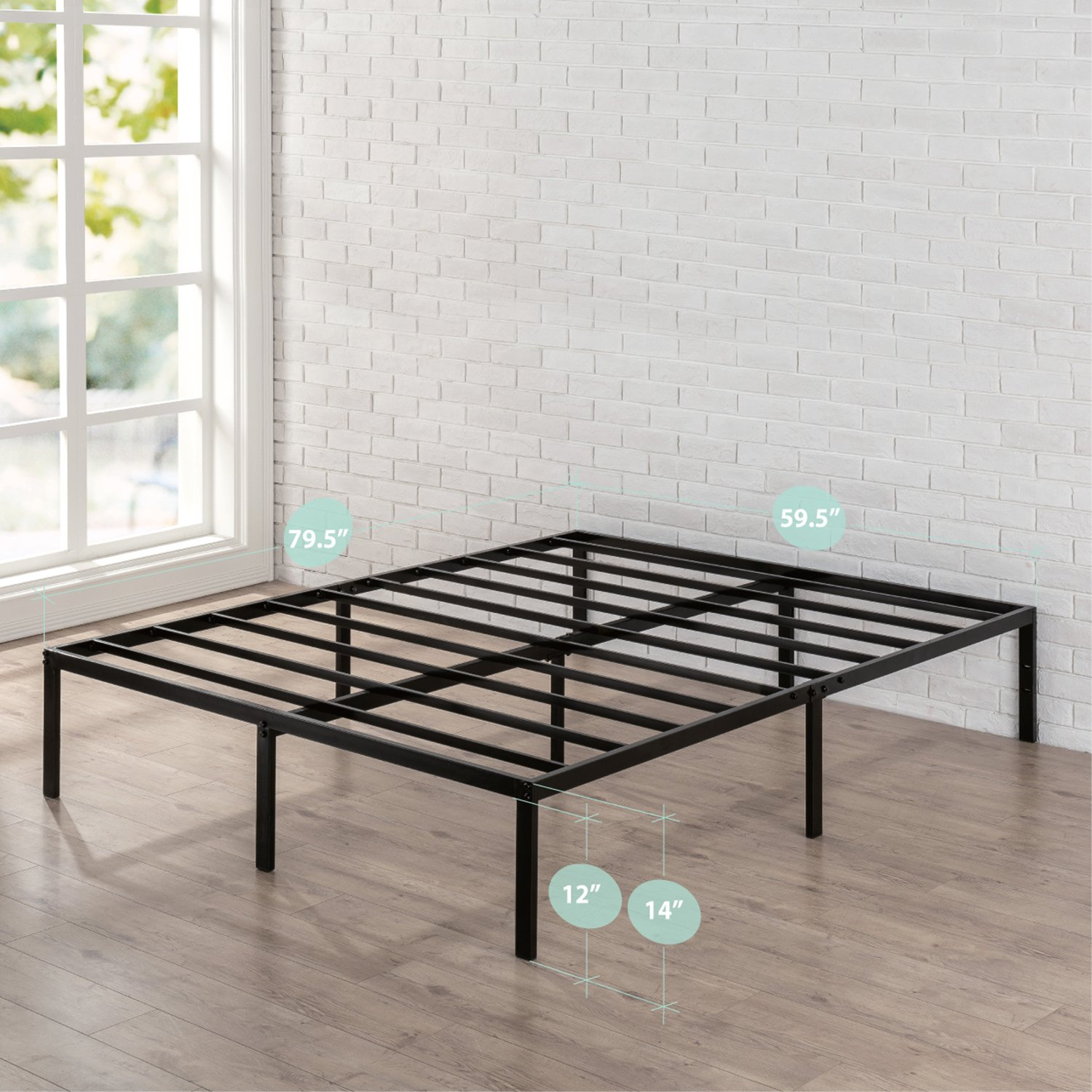 Zinus 14 Inch Classic Metal Platform Bed Frame with Steel Slat Support, Mattress Foundation, Queen by Zinus (Image #1)