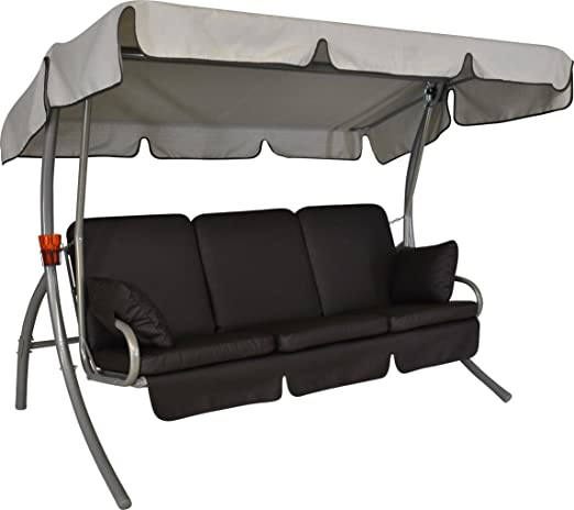 Angerer Premium Comfort - Balancín de diseño, de Piel, Color Chocolate, con Parasol Color Beige, 3 plazas: Amazon.es: Jardín