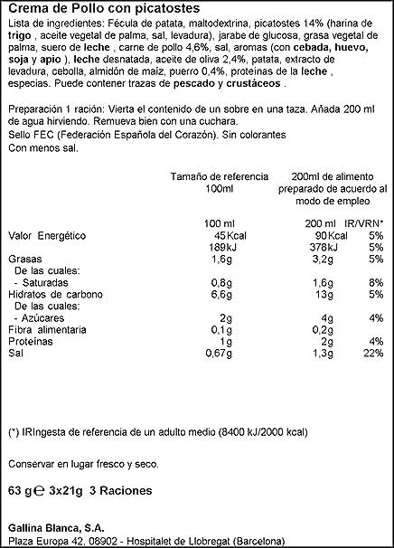 Gallina Blanca Sopinstant - Crema de Pollo con Picatostes - 63 g: Amazon.es: Amazon Pantry