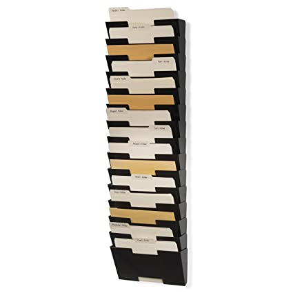 Charmant Wall File Holder Metal Vertical Letter Size Rack Storage Paperwork  Organizer 15 Pack Black Wall Mount