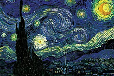 Seven Rays Starry Night by Vincent van Gogh (Small) Poster: Amazon ...