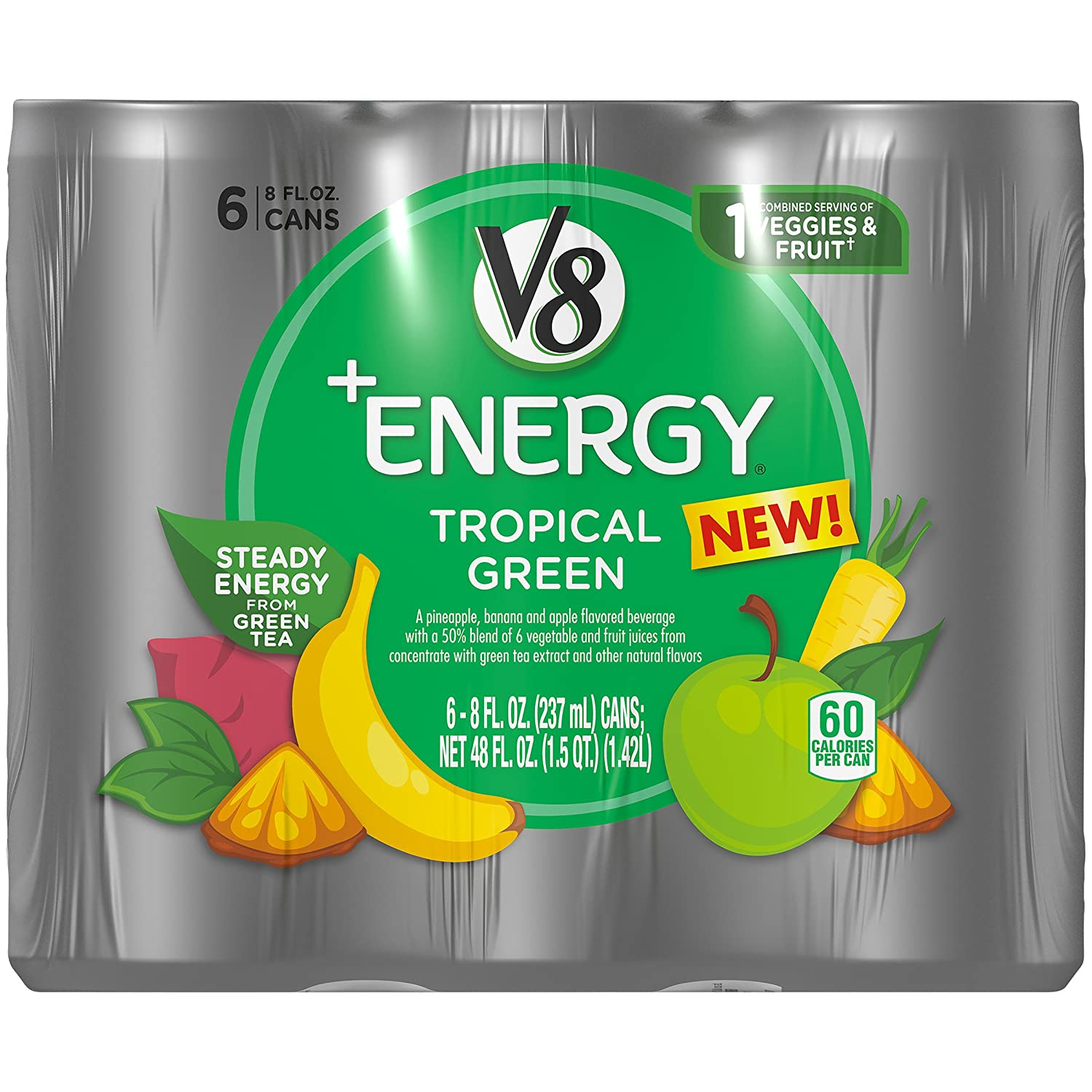 V8 +Energy Healthy Energy Drink, Natural Energy from Tea, Tropical Green, 8 Oz Can, 6 Count