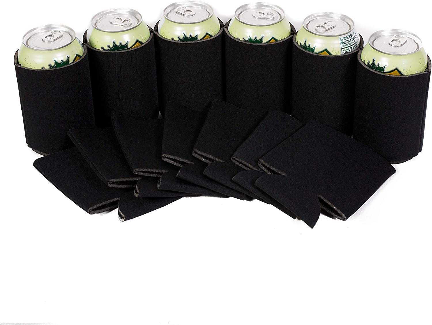 QualityPerfection Beer Can Coolers Sleeves,Collapsible Bottle,Soda Holder | Insulated Coolie for Personalized Sublimation,HTV,Vinyl Sleeves| Perfect For DIY Projects,Weddings Parties,Events(12, Black)