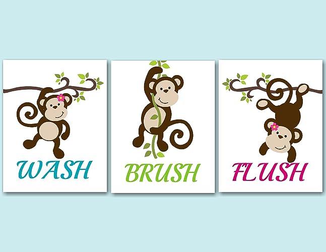 Amazon Com Monkey Decor Monkey Bathroom Wall Art Monkey