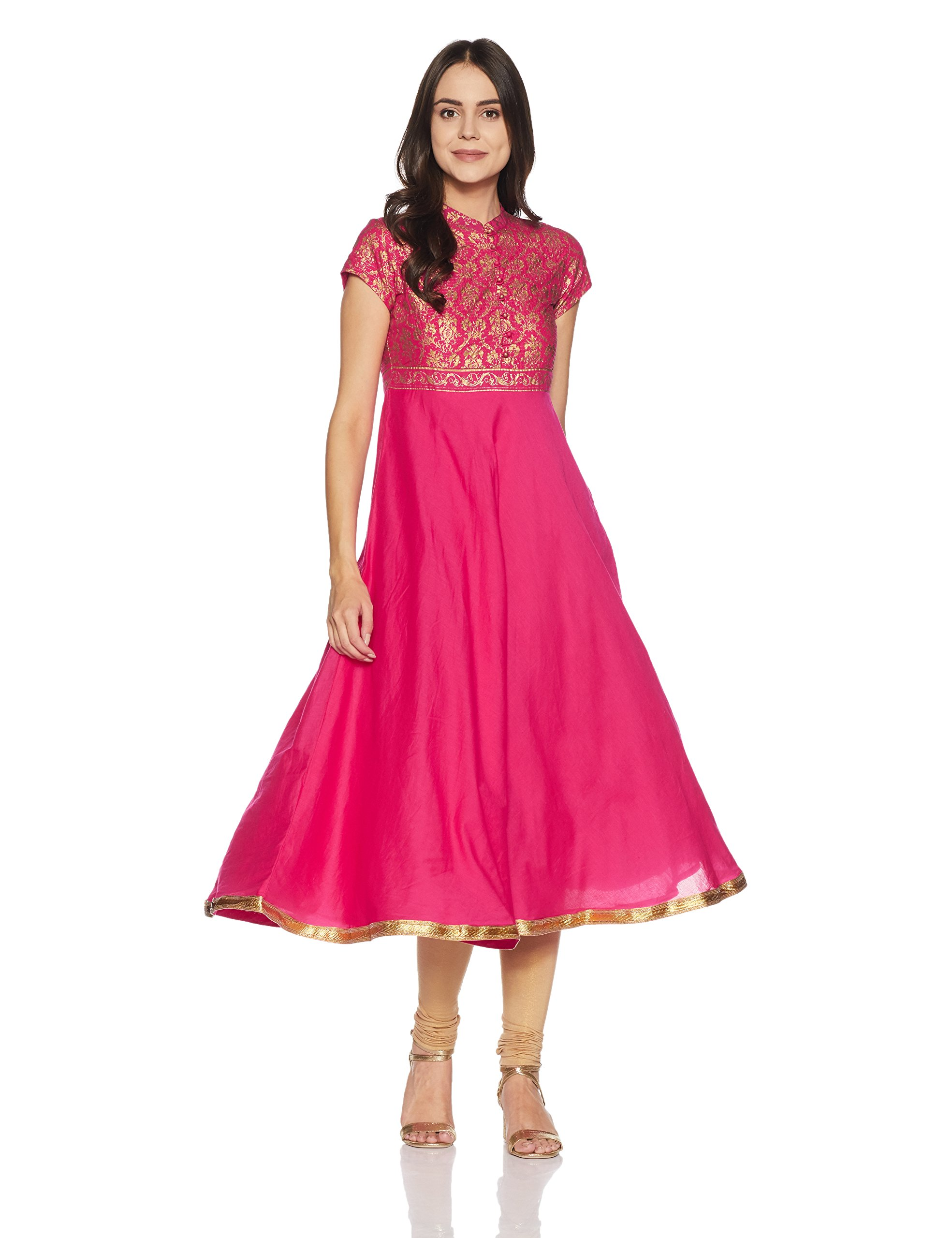 BIBA Women's Anarkali Cotton Kurta 34 Pink