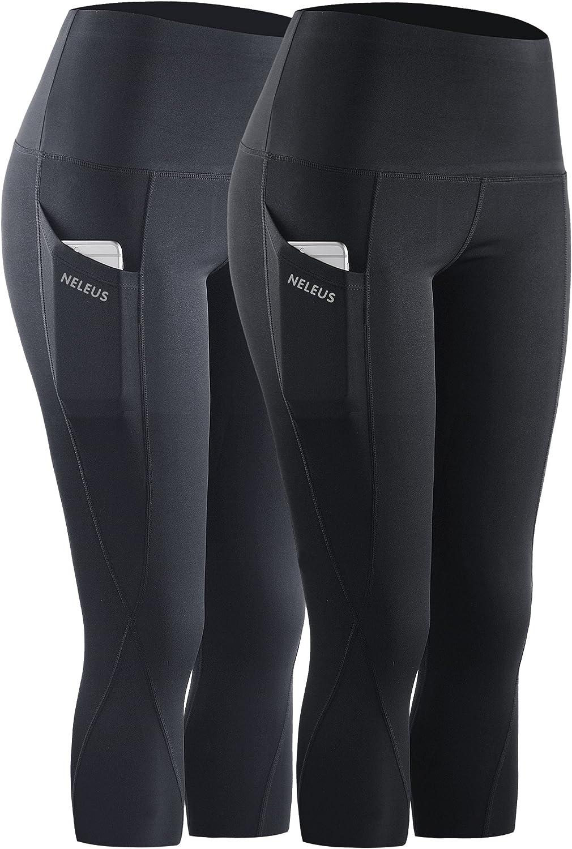 Neleus Womens Tummy Control High Waist Capri Leggings Yoga Pants with Pockets