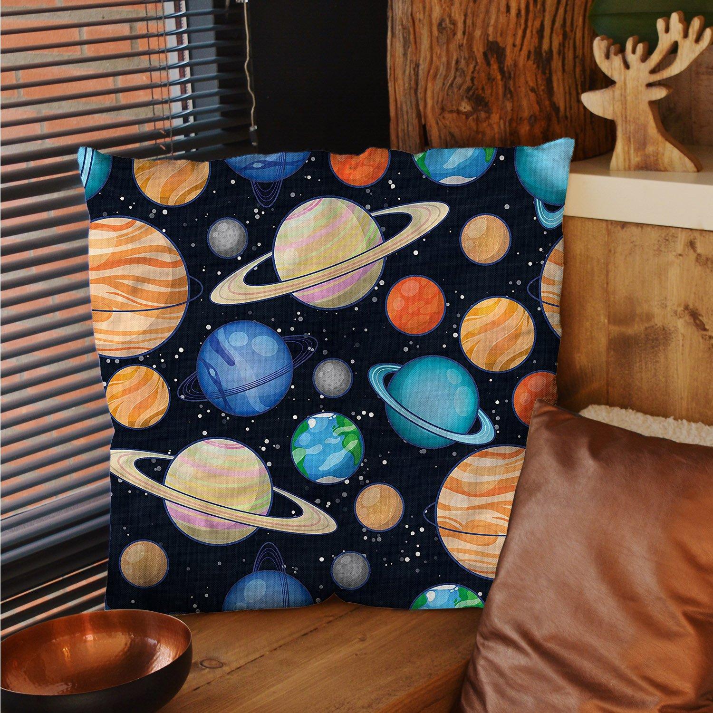 sunsunshine Galaxy square pillow cases Cute Galaxy Space Art Solar System Planets Mars Mercury Uranus Jupiter Venus Kids Print silk pillow cases Multi