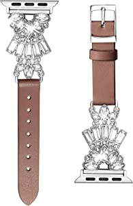 Secbolt Band Compatible with Apple Watch Band 38mm 40mm iWatch Series 6/5/4/3/2/1 SE, Top Grain Leather with Bling Crystal Diamonds Wristband Strap Accessories Women, Brown Small