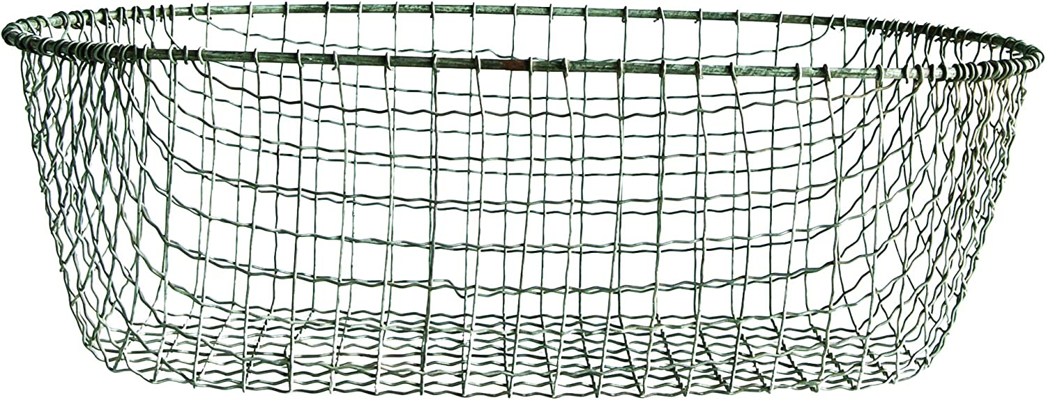 Creative Co-op Handmade Large Oval Wire Basket Metal Non-Food Storage, Silver