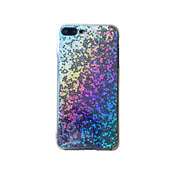 87cf8e1cd63cb HolaStar Sequins Starry Sky Case for iPhone 8 Plus/7 Plus Case, Holographic  Iridescent Glitter Flexible Soft Transparent TPU Fashion Case for iPhone 7  ...