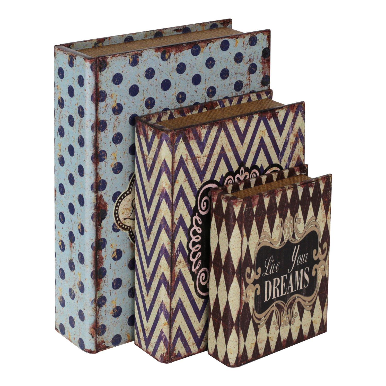 HMF 80961 Libro Segura 'Amor' Conjunto de 3, Aspecto Antiguo, Caja de Caudales Camuflada, 32,5 x 23,5 x 7,5 cm