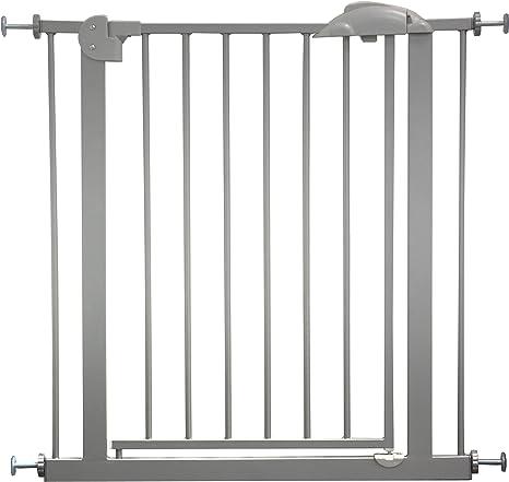 IB-Style - Barrera de seguridad para puerta/escalera «Mika» | 75-175 cm | Color gris/plata | Se cierra automáticamente | 90° fijación | Doble cierre | Ajustable de 75-85 cm: Amazon.es: Bebé