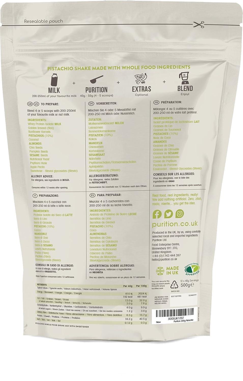Purition Batido de proteínas de Pistacho (500g). Batido para el desayuno: Amazon.es: Salud y cuidado personal