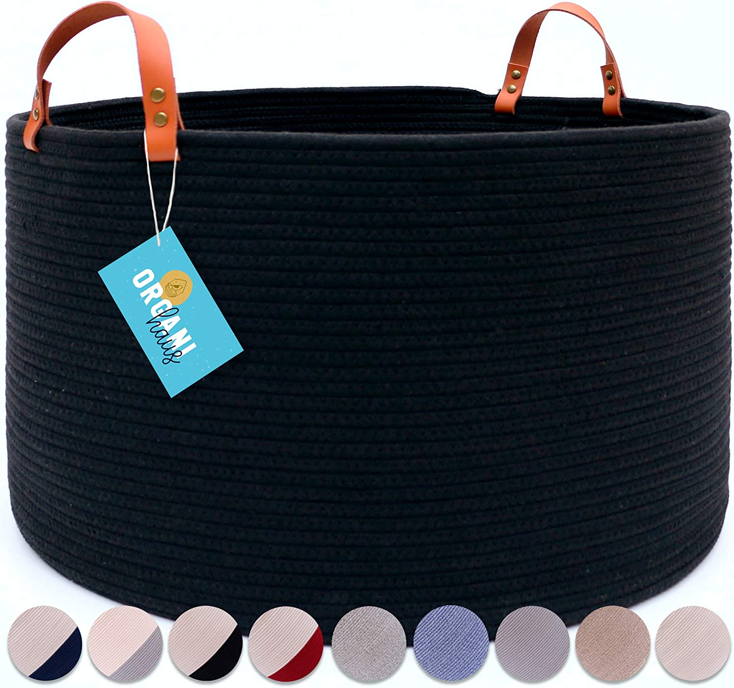 "OrganiHaus XXL Black Cotton Rope Basket with Real Leather Handles | Wide 20""x13.3"" Woven Blanket Storage Basket 