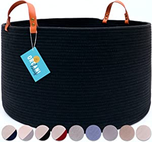 """OrganiHaus XXL Black Cotton Rope Basket with Real Leather Handles   Wide 20""""x13.3"""" Woven Blanket Storage Basket   Decorative Floor Basket for Living Room with Genuine Leather Handles (Black)"""