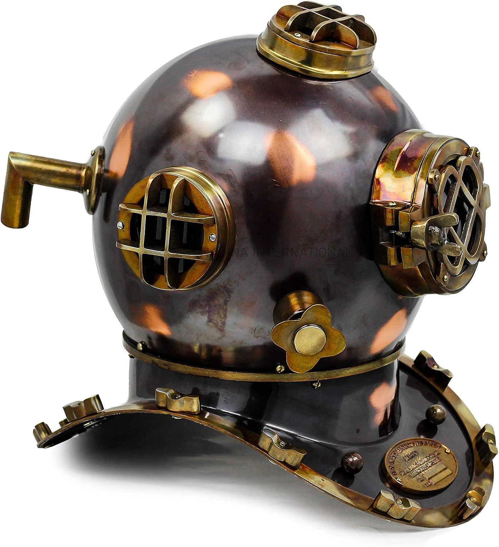 "Nagina International 18"" Scuba Diving Nautical Helmet | Maritime Ship's Decorative Helmet (18 Inches, Antique Black)"