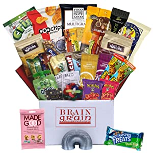 Brain & Grain Healthy Care Package - Large Size, Snacks and Treats for University Student Birthday or Final Exams, New Hires, Interns, Office Breakroom, Meetings, New Clients