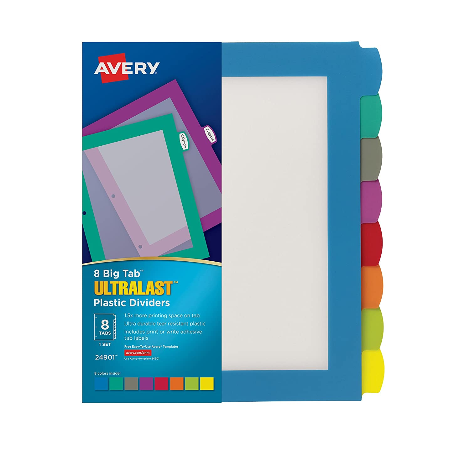 Avery Ultralast Big Tab Plastic Dividers, 8 Tabs, 1 Set, Multicolor (24901) Avery Products Corporation