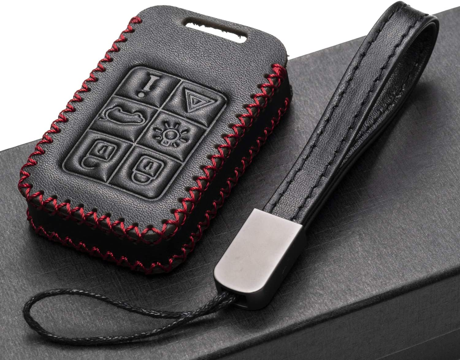 V70 Vitodeco Genuine Leather Smart Key Fob Case Cover Protector with Key Chain for Volvo S60 XC60 XC70 6-Button, Black S80