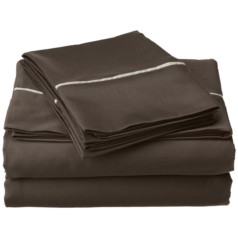 Deep Pocket Bahama Solid Soft Wrinkle Resistant 4-Piece Full Bed Sheet Set Cotton Blend 600 Thread Count Grey with Silver Trim Superior CR600FLSH BAGR