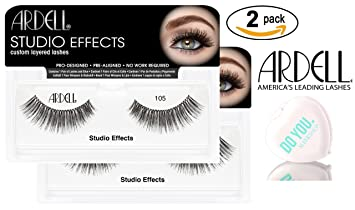 18b497b90cf Amazon.com : Ardell Professional STUDIO EFFECTS Custom Layered Lashes,  2-pack (with Sleek Compact Mirror) (105 (2-pack)) : Beauty