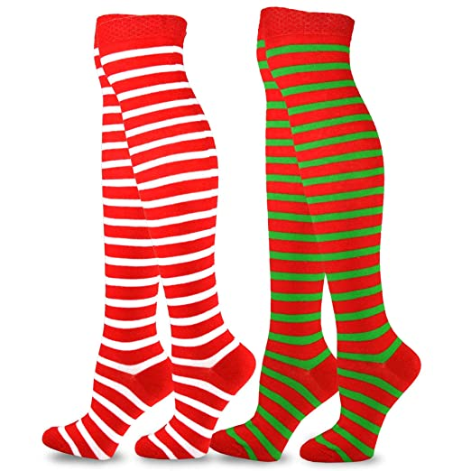 1bf7832f100 TeeHee Christmas and Holiday Fun Over the Knee High Socks for Women 2 Pair  Pack (